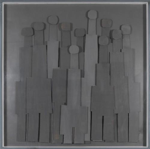 Témoins silencieux 1, 2011 - Technique mixte sur carton 150 x 150 cm