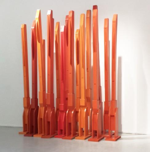 Babel's - Architects, 2009 - 17 sujets, Technique mixte sur carton 240 x 200 x 80 cm