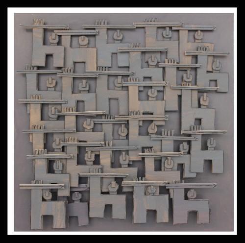 Just a little war, 2011 - Technique mixte sur carton 120 x 120 cm