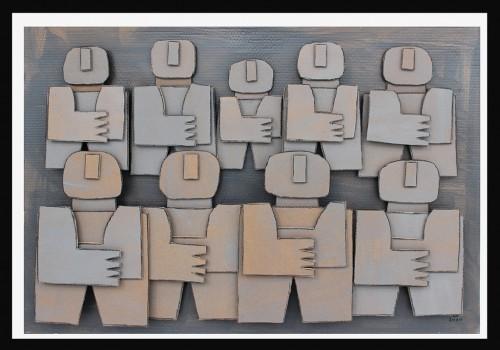 Témoins silencieux 2, 2010 - Technique mixte sur carton 76 x 113 cm