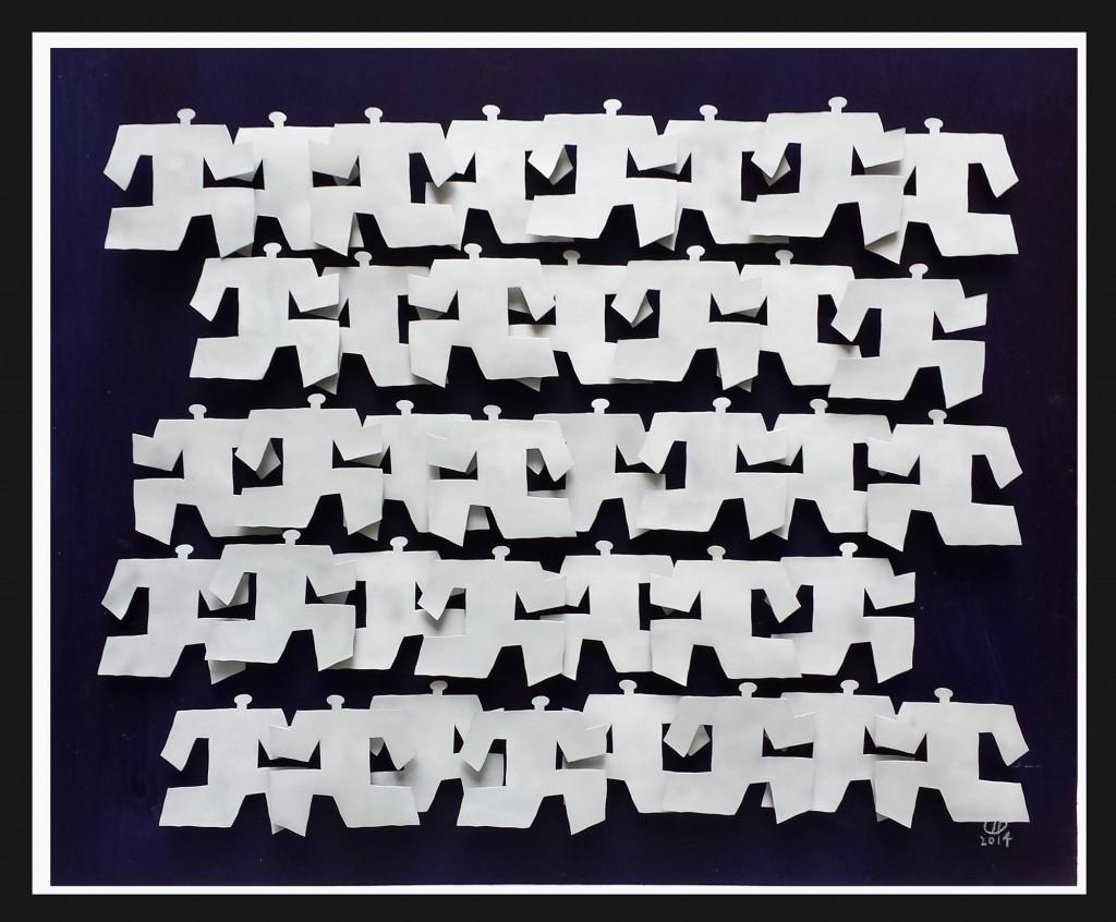 Race to nowhere 3, 2014, Aluminium et bois peint, 80 x 100 cm