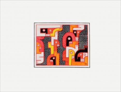 Sans titre 17 - 2013, mixte sur papier, 30 x 40 cm