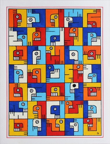 Sans titre 18 - 2013, Gouache sur papier, 40 x 30 cm