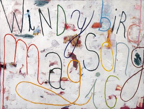 Windy bird song - 2011, huile sur toile, 89 x 130 cm