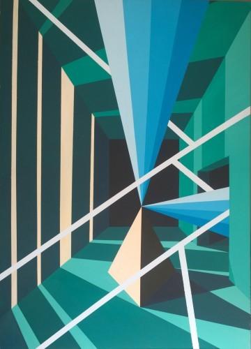 Green room - 2015, Mixte sur toile, 100 x 73 cm