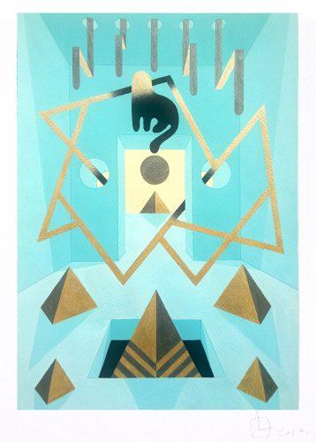Teal Cat 3 - 2017, Gouache sur papier, 50 x 35 cm