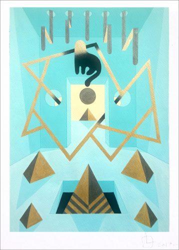 Teal Cat 3 - 2017, gouache on paper, 50 x 35 cm