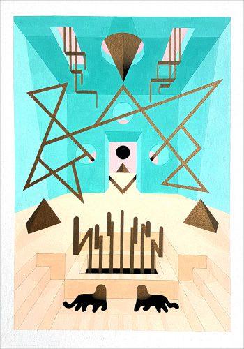 Teal Cat 1 - 2017, Gouache sur papier, 50 x 35 cm