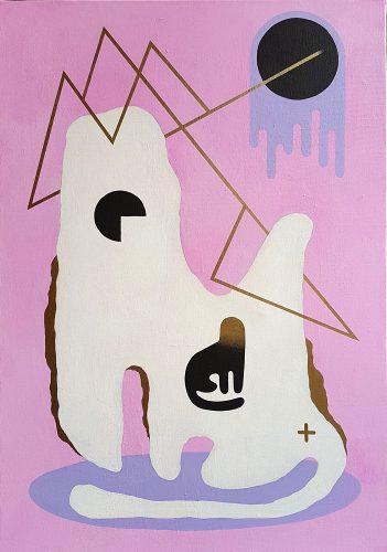 Teal Cat - 2017, huile sur toile, 92 x 65 cm