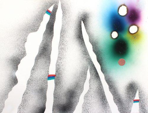 Bouleaux 2 - 2019, mixte sur papier,  46 x 61 cm