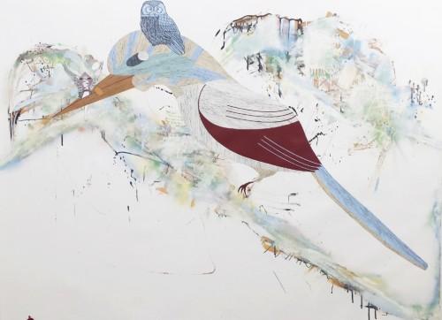 Une nuit d'hiver - 2014, huile sur papier, 140 x 200 cm
