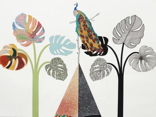 Bialystok 2 - 2015, acrylique, encre, pastel et peinture énamel sur papier, 46 x 61 cm