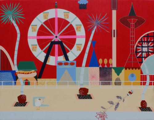Coney Island - 2020, acrylique, huile et or 24 carats sur toile, 114 x 145 cm