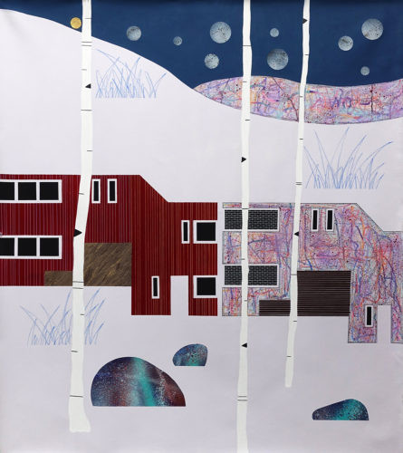 Datcha et graffitis - 2020, acrylique, huile et or sur toile, 114 x 100 cm