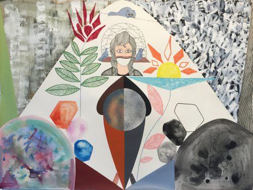 Evdokia - 2017, technique mixte sur papier, 114 x 150 cm