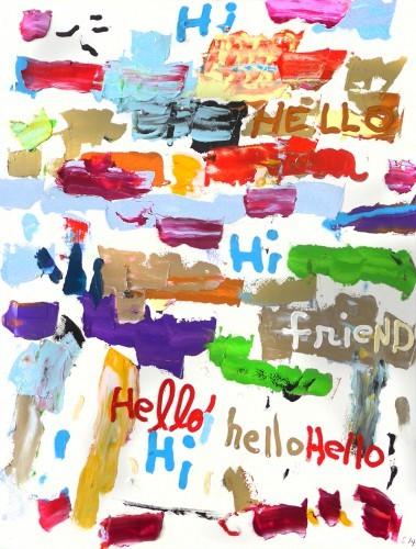 Hello friend - 2014, acrylique sur papier, 76 x 57 cm
