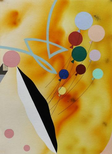Kutaissi - 2020, fumigène encre et peinture acrylique sur papier, 24 x 33 cm