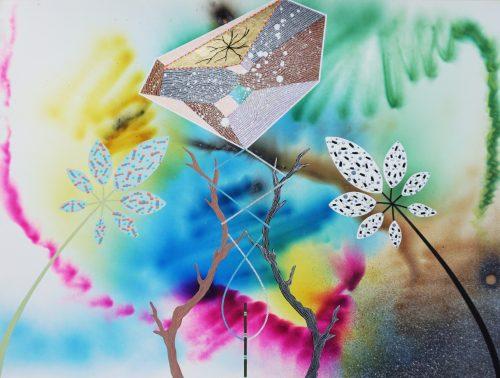 Protège ton rêve 2 - 2015, Fumigène,  or et peintures sur papier arches, 46 x 61 cm
