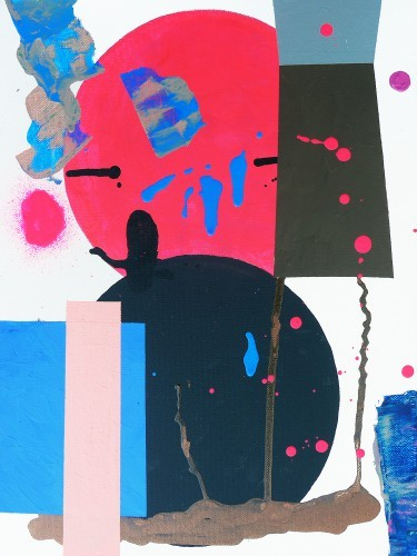 Balancing act - 2015, mixte sur toile 30,5 x 40,5 cm