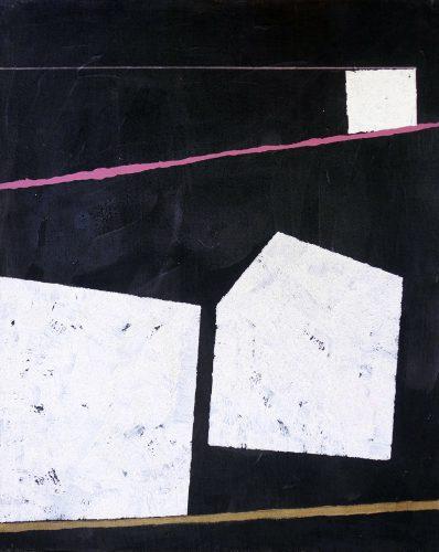 Blackpainting 1 - 2016, acrylique, sable et crayon sur toile, 81 x 65 cm