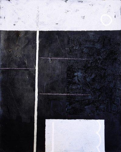 Blackpainting 2 - 2016, acrylique, sable et crayon sur toile, 81 x 65 cm