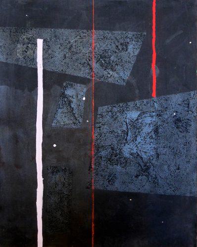 Blackpainting 5 - 2016, acrylique, sable et crayon sur toile, 81 x 65 cm