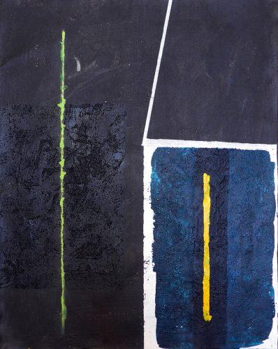 Blackpainting 6 - 2016, acrylique, sable et crayon sur toile, 81 x 65 cm