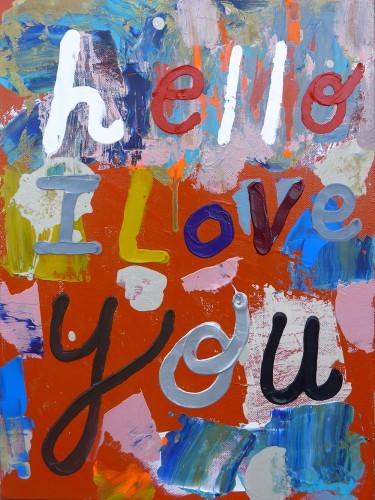 Hello - 2015, mixte sur toile 30,5 x 40,5 cm