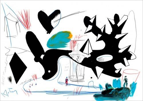 Sans titre - 2013, mixte sur papier, 64 x 91 cm