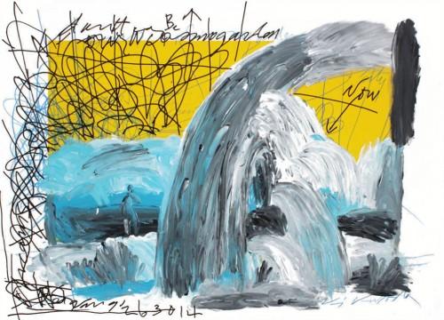 Sans titre - 2014, acrylique sur papier, 76 x 106 cm