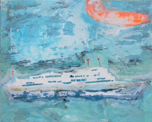 Le ferry - 2015, acrylique sur toile, 40 x 50 cm