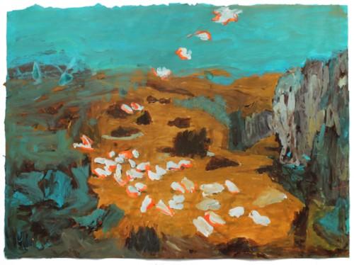 Attaque et descente d'œufs aux plats - 2015, acrylique sur papier, 56 x 75 cm