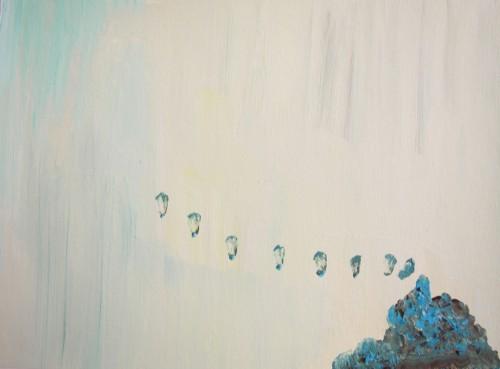 Les signaux - 2013, acrylique sur papier 30 x 40 cm