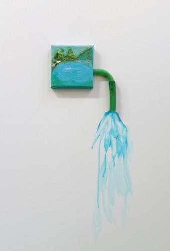 Le lac bleu - 2015, acrylique sur toile et sur mur, 16 x 40 cm