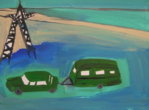La caravane - 2010, acrylique sur papier, 30 x 40 cm