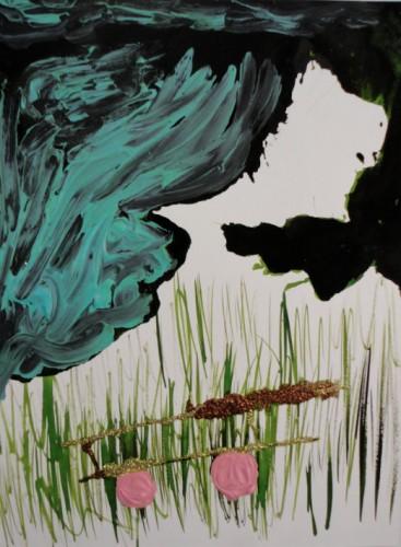 Le chariot - 2013, acrylique, encre et paillettes sur papier, 24 x 32 cm