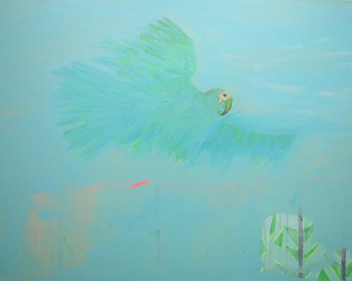 Le perroquet - 2015, acrylique sur toile, 80 x 100 cm