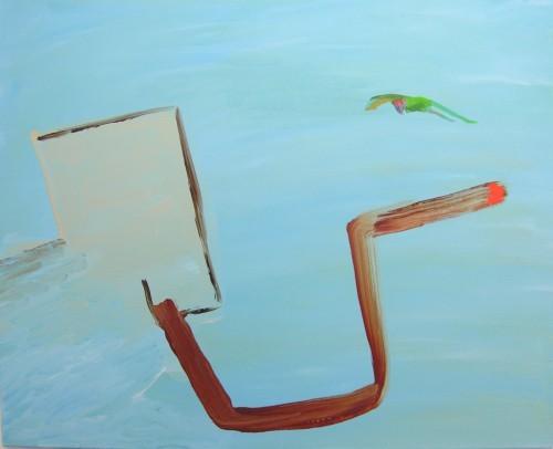 le perroquet et le tuyau d echappement - 2014, acrylique sur toile, 80 x 100 cm