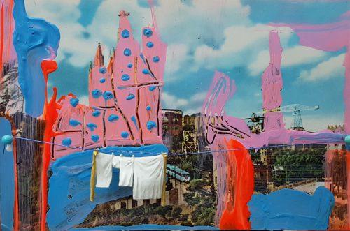 Linges suspendus - 2011, mixte sur carte postale, 10 x 15 cm