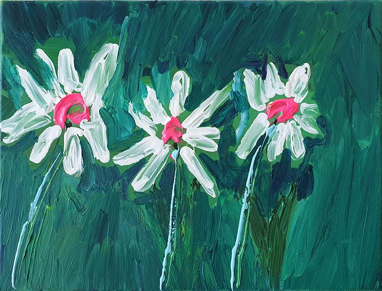Fleurs, 2020, acrylique sur toile, 30 x 40 cm