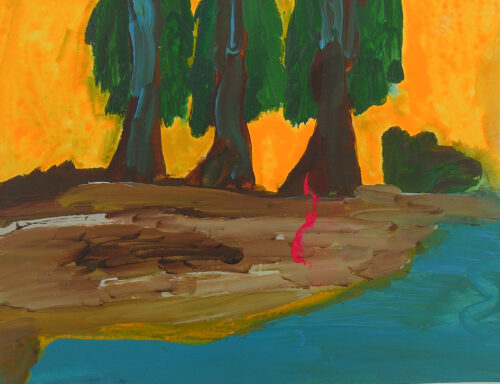 3 arbres touffus - 2020, acrylique sur papier, 36 x 48 cm