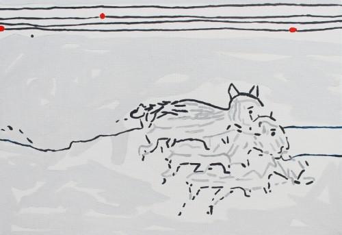 Chiens de traineau - 2016, acrylique sur toile, 50 x 72 cm