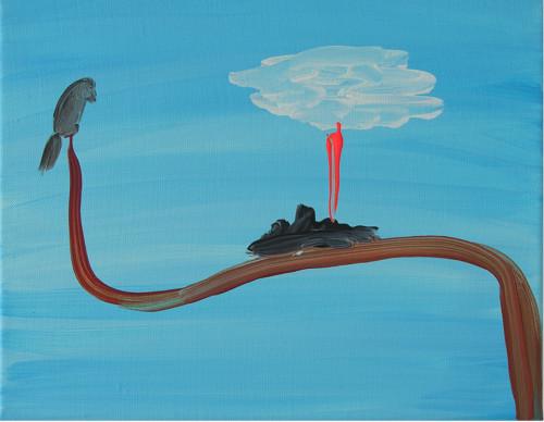 Oiseau et nuage blanc - 2020, acrylique sur toile, 24 x 30 cm