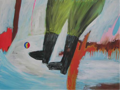 Les bottes noires - 2020, acrylique sur toile, 110 x 150 cm