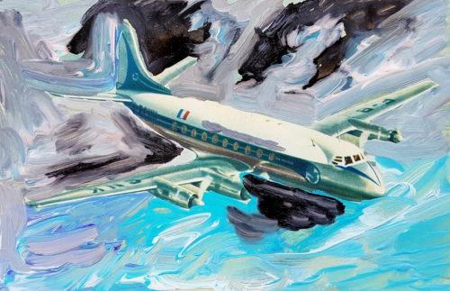 Ceux qui m'aiment prederont l'avion N°1 - 2018, Acrylique sur carte postale, 9 x 14 cm