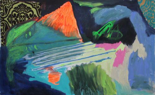 Intérieur et montagne orange 80 x 130 - 2018, Acrylique sur toile, 80 x 130 cm
