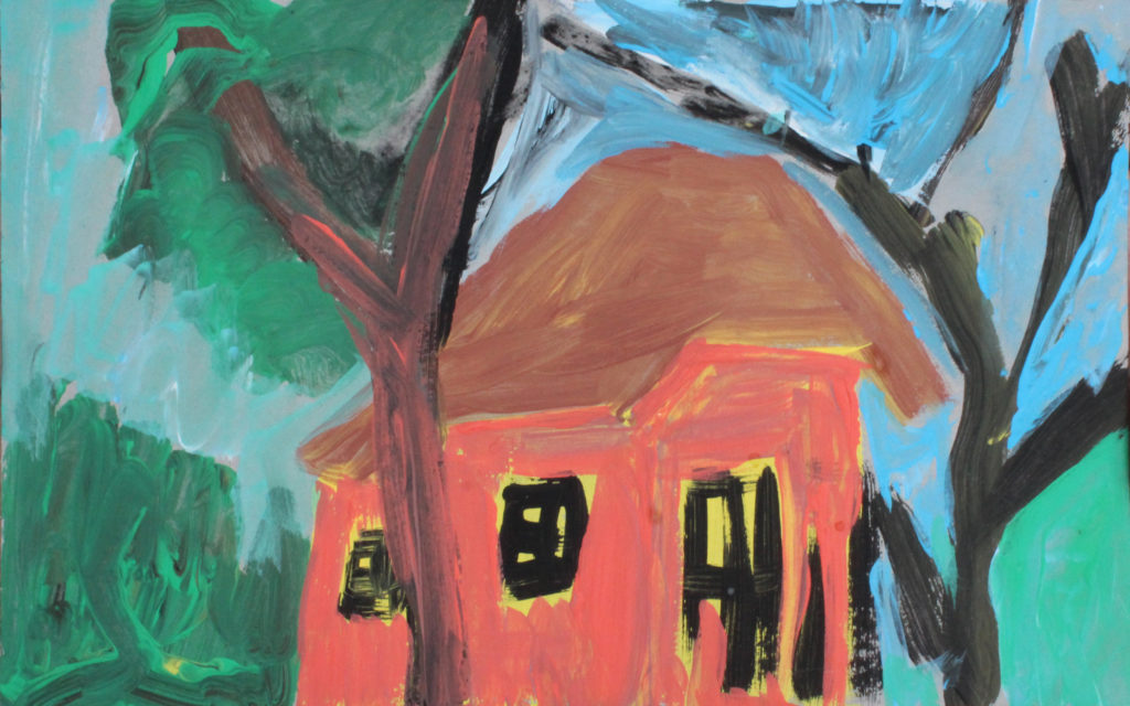 Maison rouge, 2020, gouache sur papier, 11,5 x 18 cm