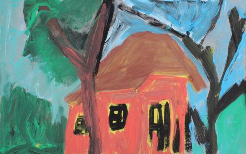 Maison rouge - 2020, gouache sur papier, 11,5 x 18 cm