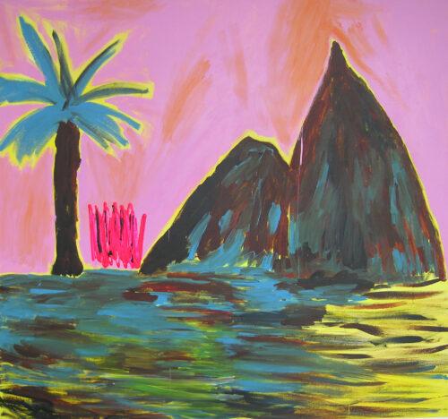 Palmier bleu - 2020, acrylique sur toile, 145 x 135 cm