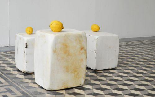 Sans titre  (graissé enduit poncé placé) - 2015, bois, graisse, enduit de lissage, citrons, 80x25x30cm, 30 x 23 x 19 cm.